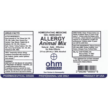 Picture of Allergy Animal Mix 2 oz. Spray, Ohm Pharma