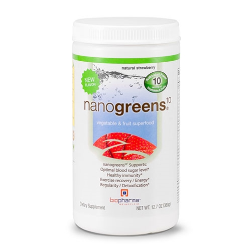 Biopharma Scientific NanoGreens10 (Strawberry) 12.7oz. by Biopharma Scientific
